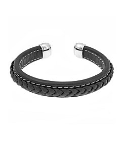 Black Leather Cuff Bracelet with Braided Design