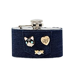 Betsey Johnson® Denim Cat Pin Charm Flask