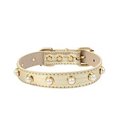 Betsey Johnson® Pearl Metallic Gold Dog Collar