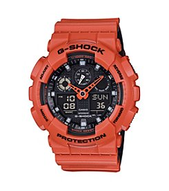 G-Shock Men's Orange Analog-Digital Watch with Layered Resin Band