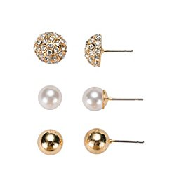Gloria Vanderbilt™ Trio Ball Stud Earrings
