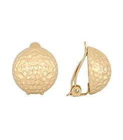Gloria Vanderbilt™ Goldtone Hammered Button Clip Earrings
