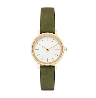 Skagen® Hald Leather Strap Round Watch