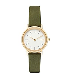 Skagen® Hald Leather Strap Round Watch