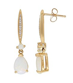 Opal Drop Earrings in 14K Yellow Gold with 0.03 ct. t.w. Diamond Accents