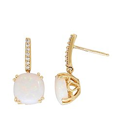 Created Opal Cushion Cut Earrings in 14K Yellow Gold