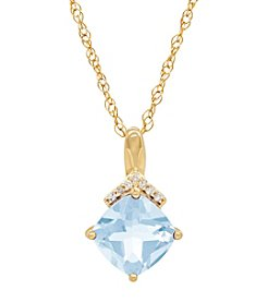 14K Yellow Gold Aqua Cushion Pendant with 0.02 ct. t.w. Diamond Accents