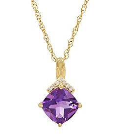 14K Yellow Gold Amethyst Cushion Pendant with 0.02 ct. t.w. Diamond