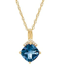 14K Yellow Gold Sky Blue Topaz Pendant Necklace with 0.02 ct. t.w. Diamond