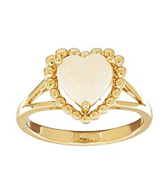 Opal Heart Ring in 10K Yellow Gold