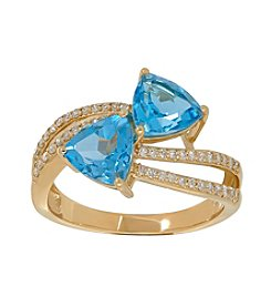 Swiss Blue Topaz Ring in 10K Yellow Gold with 0.24 ct. t.w. Diamond Accents