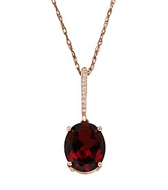 10K Rose Gold and Garnet Oval Pendant with 0.03 ct. t.w. Diamond Accent