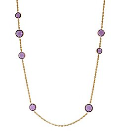 10K Yellow Gold Amethyst Bead Necklace
