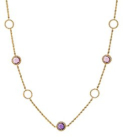 10K Rose Gold Mixed Amethyst Bead Link Necklace