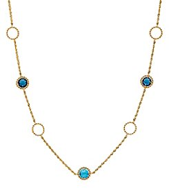 10K Yellow Gold Swiss And London Blue Topaz Link Necklace