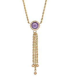 10K Yellow Gold Amethyst Tassel Bead Necklace