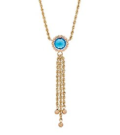 10K Yellow Gold Swiss Blue Topaz Tassle Bead Necklace