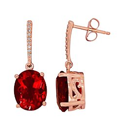 Oval Garnet Earrings in 10K Rose Gold with 0.05 ct t.w. Diamond Accents