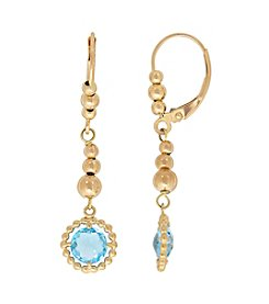 10K Yellow Gold Drop Swiss Blue Topaz Earrings