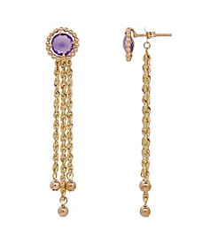 10K Yellow Gold Round Amethyst Tassle Bead  Earrings