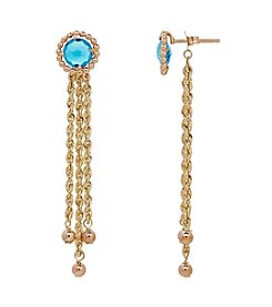 10K Yellow Gold Round Swiss Blue Topaz Tassel Dangle Bead Earrings