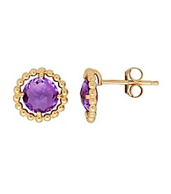 10K Yellow Gold Amethyst Stud Earrings