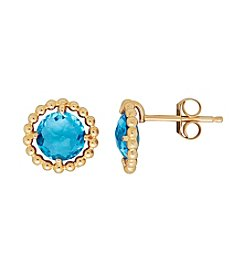 Swiss Blue Topaz Stud Earrings in 10K Yellow Gold