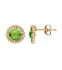 Peridot Stud Earrings in 10K Yellow Gold