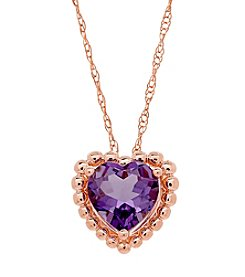 10K Rose Gold Bead Amethyst Heart Pendant Necklace