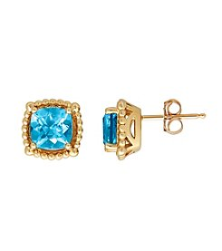 10K Yellow Gold Bead Swiss Blue Topaz Stud Earrings