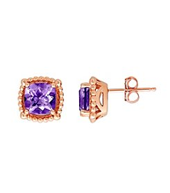 10K Rose Gold Bead Amethyst Stud Earrings