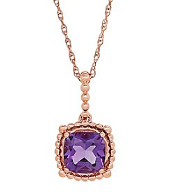 10K Rose Gold Bead Amethyst Pendant Necklace