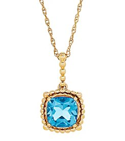10K Yellow Gold Bead Swiss Blue Topaz Pendant Neckalce