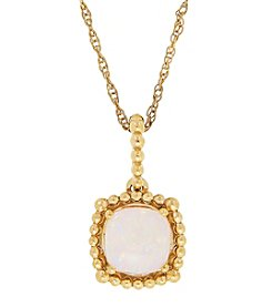 10K Yellow Gold Bead Opal Pendant Necklace