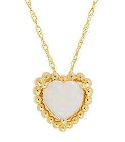 10K Yellow Gold Opal Heart Pendant Necklace