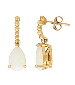 10K Yellow Gold Pear Drop Opal Earrings