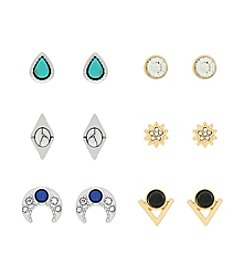 Jessica Simpson Six Pack of Celestial Stud Earrings