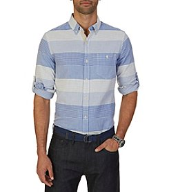 Nautica® Men's Long Sleeve Stripe Plaid Button Down Shirt