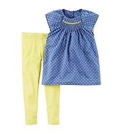 Carter's® Girls' 2T-4T 2-Piece Dotted Flutter Sleeve Top And Leggings Set
