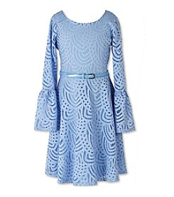 Speechless® Girls' 7-16 Sky Lace Belted Bell Sleeve Dress