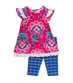 Rare Editions® Girls' 2T-4T 2-Piece Daisy Tunic Top And Leggings Set