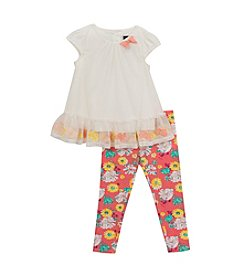 Rare Editions® Girls' 2T-4T 2-Piece Floral Trim Tunic Top And Leggings Set