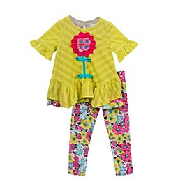 Rare Editions® Girls' 2T-6X 2-Piece Elbow Sleeve Tunic Top And Leggings Set