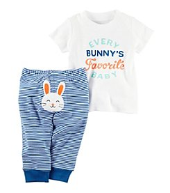 Carter's® Baby Girls' 2-Piece Every Bunny's Favorite Baby Top And Striped Leggings Set