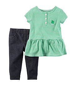 Carter's® Baby Girls' 2-Piece Peplum Tee And Denim Set