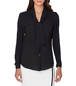 Tahari® Georgette Neck Tie Blouse