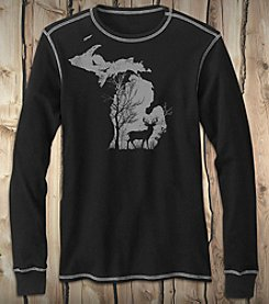 The Michigan Outfitter Men's Deer In The Woods Long Sleeve Thermal Tee