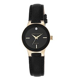 Anne Klein® Black Diamond Dial Strap Watch