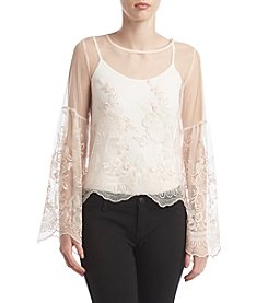 Sequin Hearts® Embroidered Lace Top