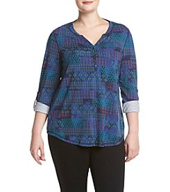 Relativity® Plus Size Tapestry Henley